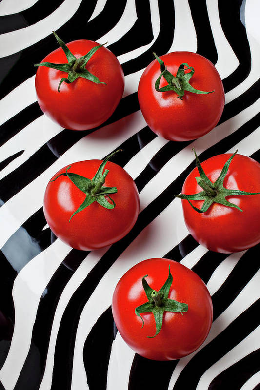 Tomato Art Print featuring the photograph Five Tomatoes by Garry Gay