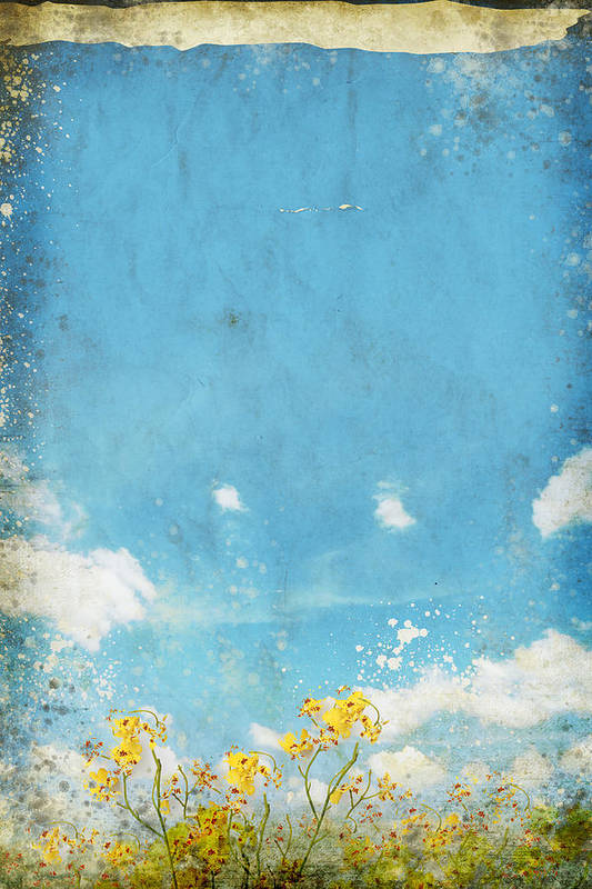 Abstract Print featuring the painting Floral In Blue Sky And Cloud by Setsiri Silapasuwanchai