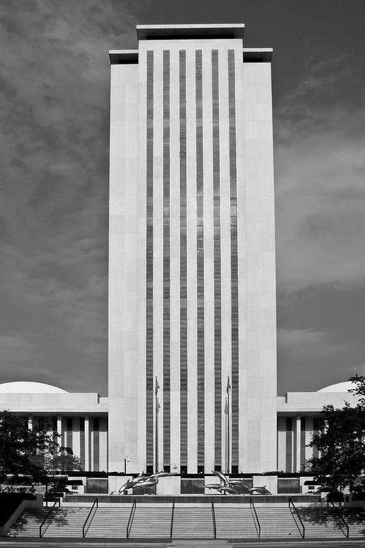 Black And White Photography Art Print featuring the photograph Florida State Capitol by Wayne Denmark