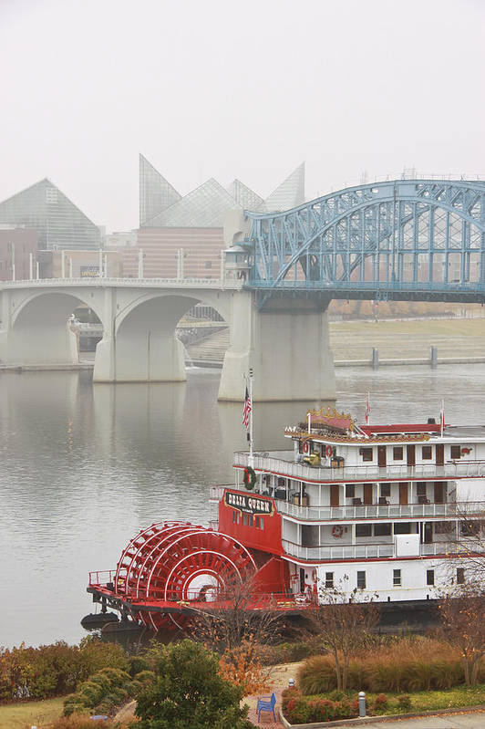 Market Street Bridge Art Print featuring the photograph Foggy Chattanooga by Tom and Pat Cory