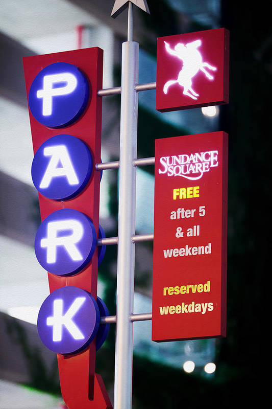 Fort Worth Art Print featuring the photograph Fort Worth Parking Sign Digital Oil Paint by Rospotte Photography