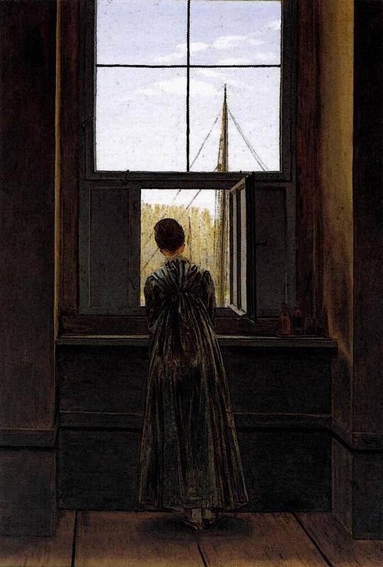 Friedrich Art Print featuring the digital art Friedrich Caspar David Woman At A Window by PixBreak Art