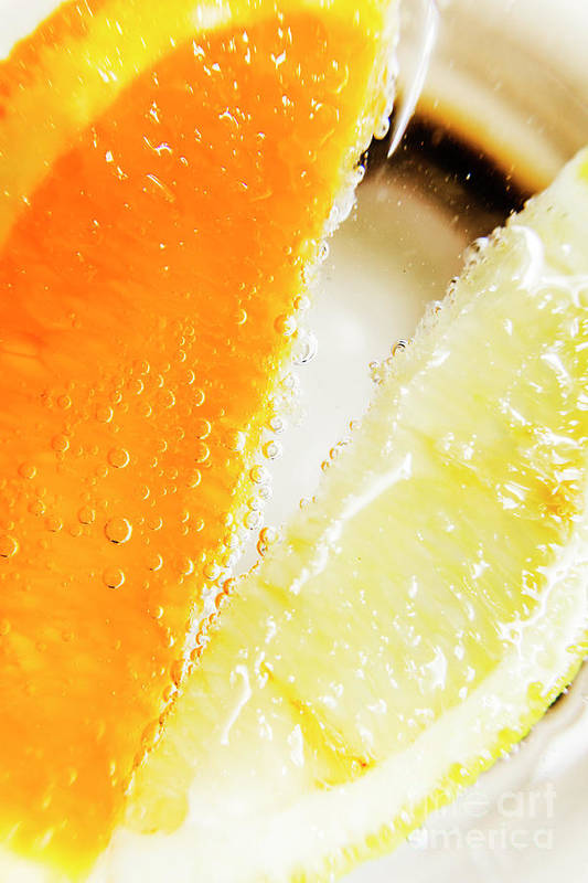Slice Art Print featuring the photograph Fruity Drinks Macro by Jorgo Photography - Wall Art Gallery