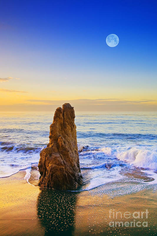 Beaches Art Print featuring the photograph Full Moon Setting by Greg Clure