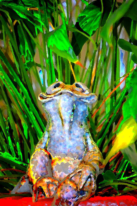 Art Print featuring the digital art Funny Frog by Danielle Stephenson