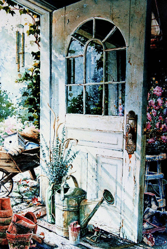 Garden Door Art Print featuring the painting Garden Chores by Hanne Lore Koehler