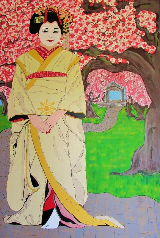 Geisha Art Print featuring the painting Garden by Gary Holden