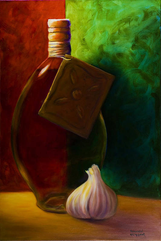 Shannon Grissom Art Print featuring the painting Garlic And Oil by Shannon Grissom