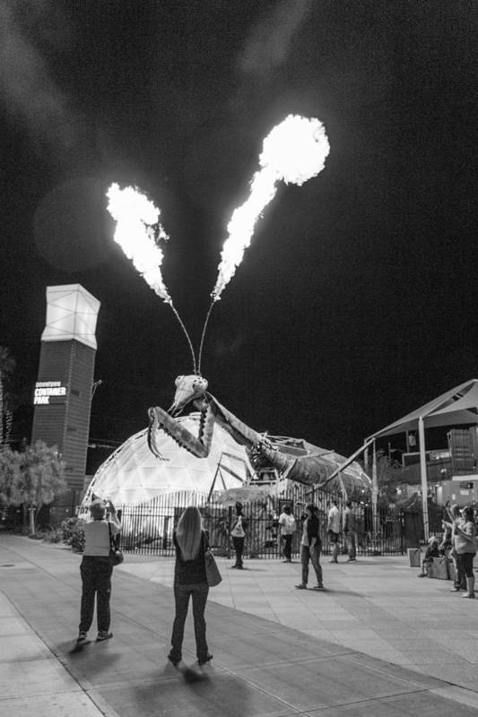 Fremont Street Experience Art Print featuring the photograph Giant Flamethrowing Praying Mantis by SR Green