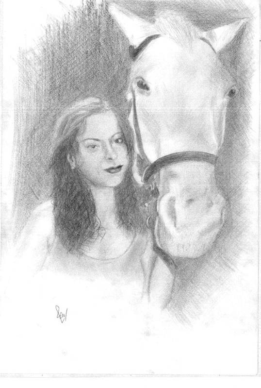 Horse Art Print featuring the drawing Girl And Horse by Reza Naqvi
