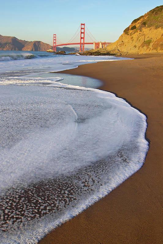 Vertical Art Print featuring the photograph Golden Gate Bridge At Sunset by Sean Stieper