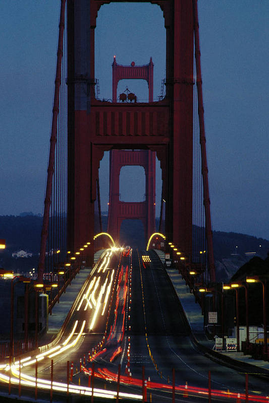 Evening Art Print featuring the photograph Golden Gate Bridge by Carl Purcell