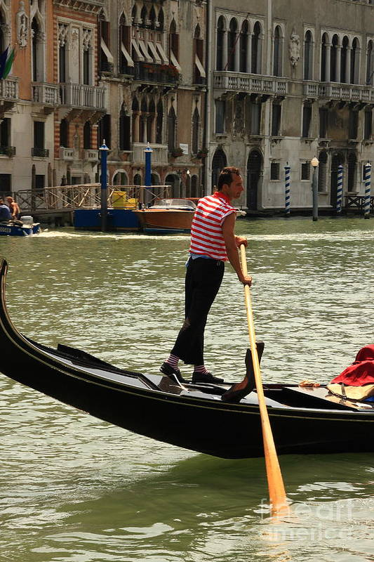 Venice Art Print featuring the photograph Gondolier With Matching Socks by Michael Henderson