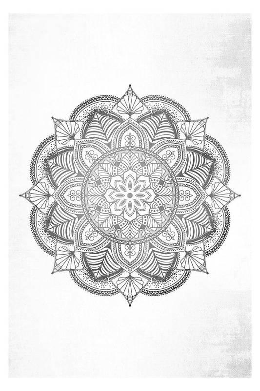 Mandala Art Print featuring the digital art Gray Mandala by Aga Szafranska