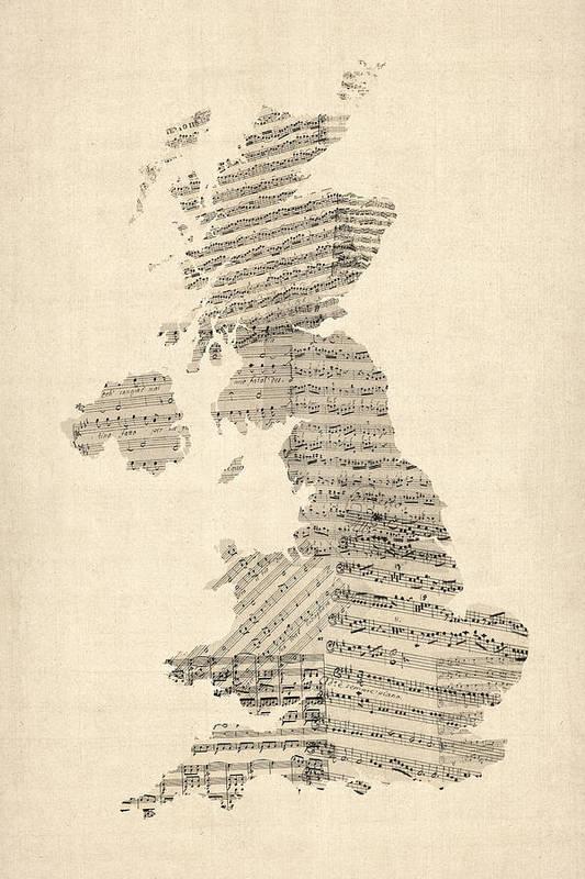 United Kingdom Map Art Print featuring the digital art Great Britain Uk Old Sheet Music Map by Michael Tompsett