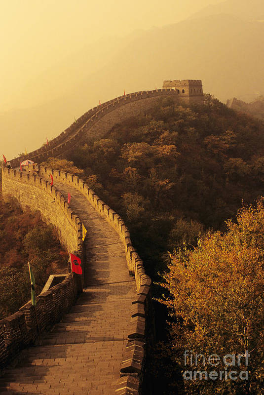 Afar Art Print featuring the photograph Great Wall In The Mist by Gloria & Richard Maschmeyer - Printscapes