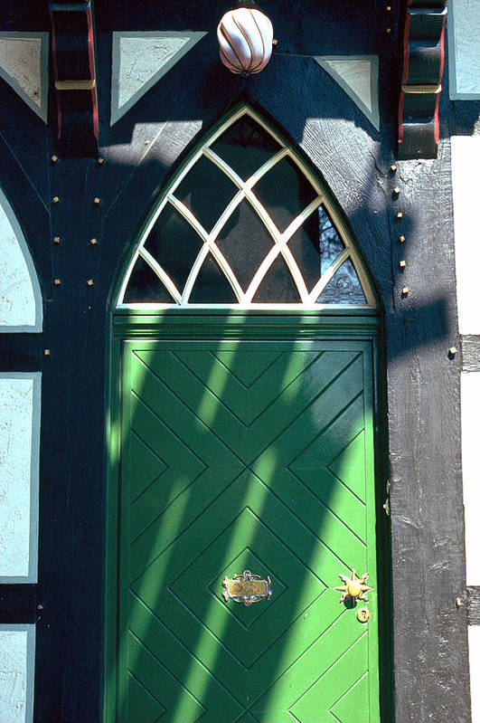 Green Art Print featuring the photograph Green Door by Flavia Westerwelle