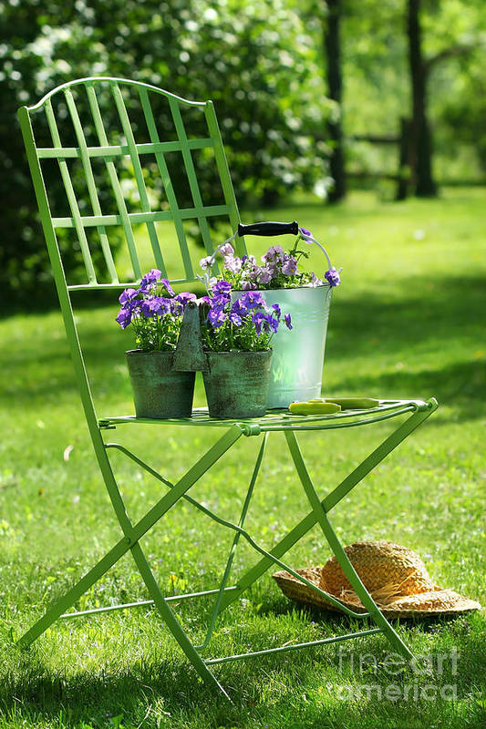 Afternoon Art Print featuring the digital art Green Garden Chair by Sandra Cunningham