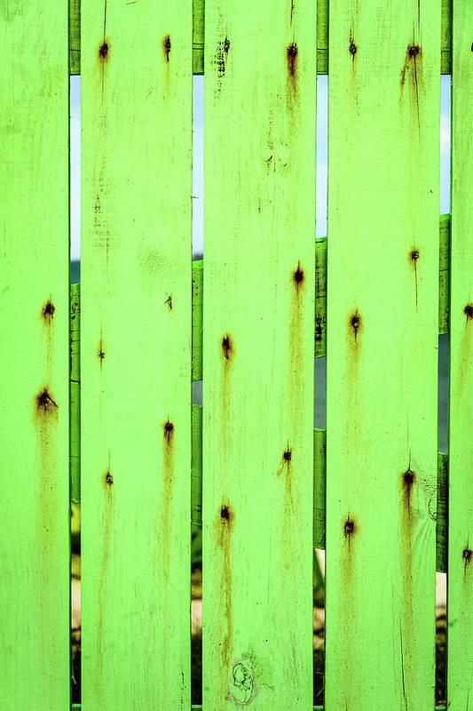 Abstract Art Print featuring the photograph Green Seaside Fence by Mark Summerfield