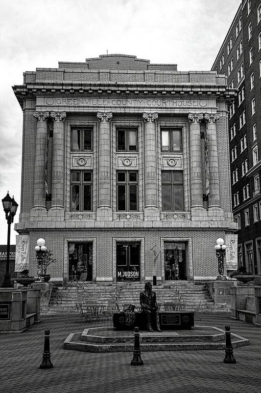 Greenville County Courthouse In Black And White Art Print