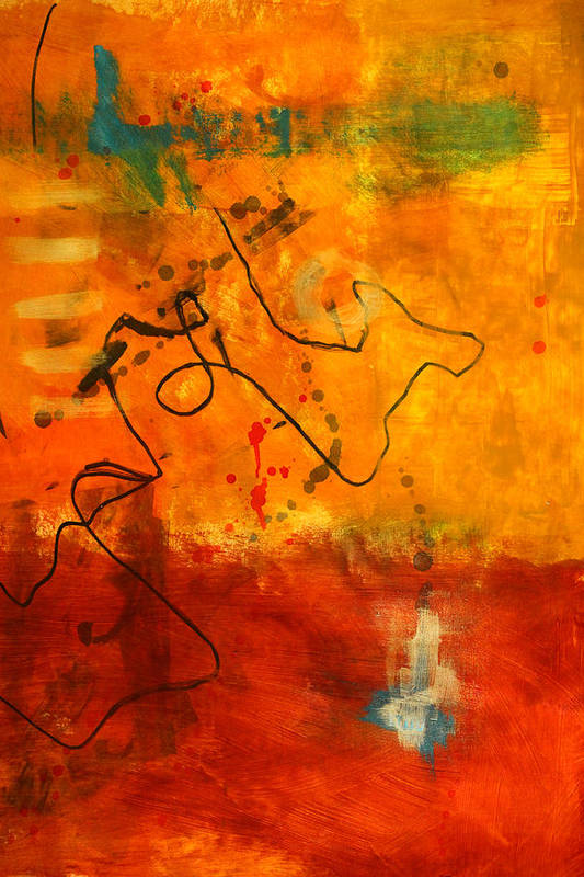Coffee Abstract Art Print featuring the painting Ground Coffee by Nancy Merkle