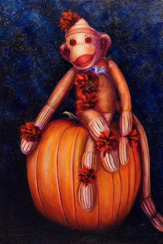 Pumpkin Art Print featuring the painting Halloween by Shannon Grissom