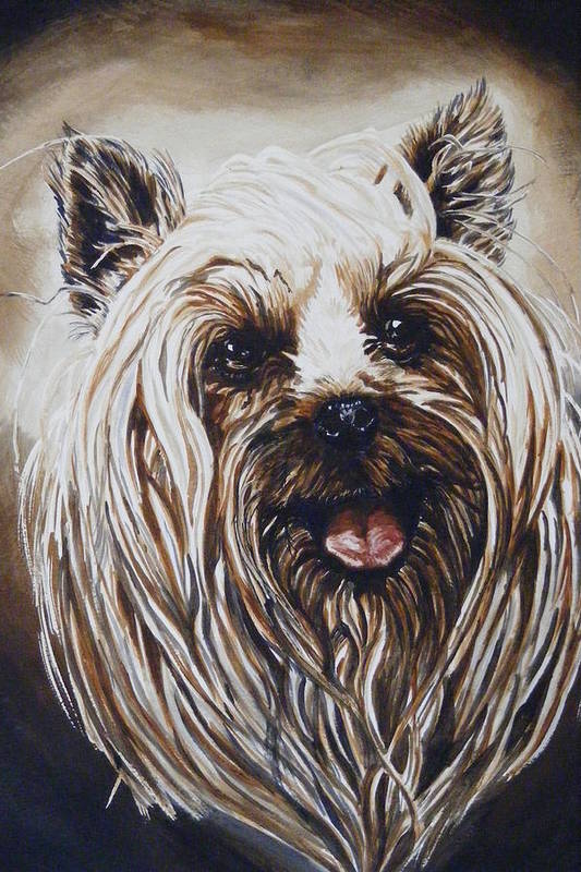 Dog Portraite Art Print featuring the painting Happy Face by Donald Dean