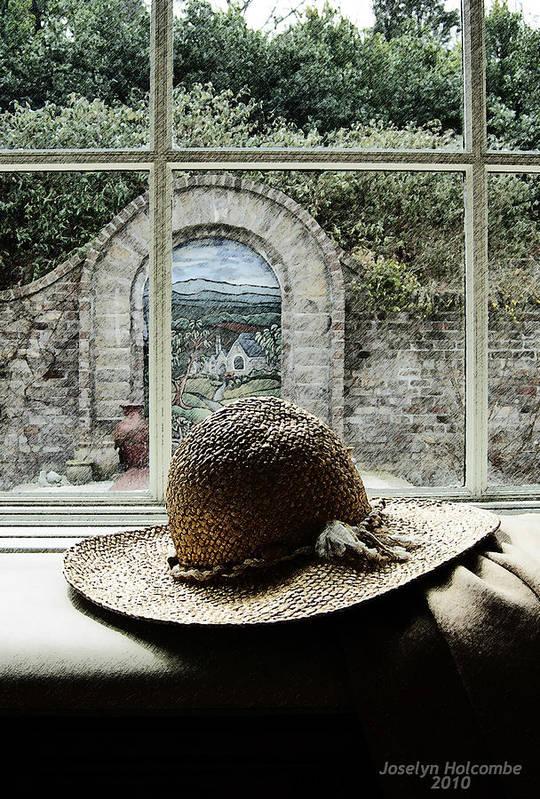 Window Art Print featuring the digital art Hat In Window by Joselyn Holcombe