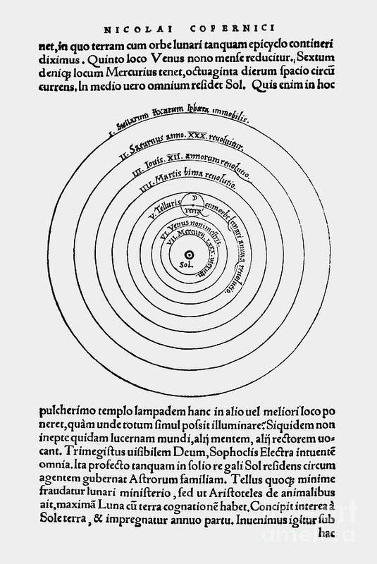 Science Print featuring the photograph Heliocentric Universe, Copernicus, 1543 by Science Source