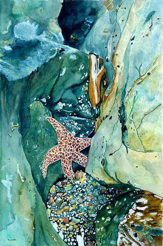 Starfish Art Print featuring the painting Hideaway by Karen Merry
