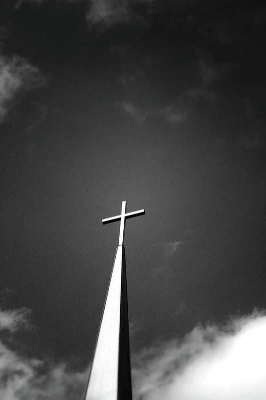 Church Art Print featuring the photograph Higher To Heaven - Black And White Photography By Linda Woods by Linda Woods