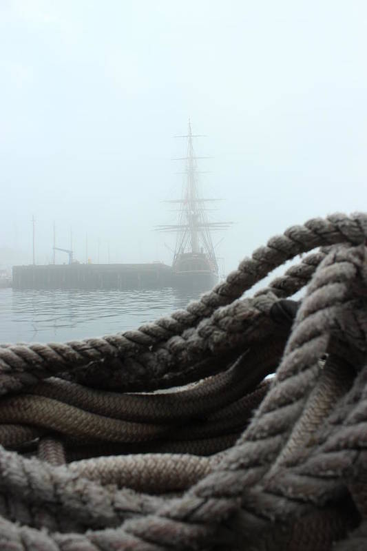 Fog Print featuring the photograph Hms Bounty In The Eastport Fog by Rick Blood
