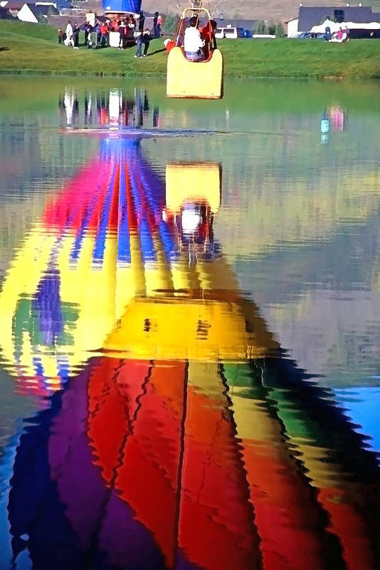 Hot Air Balloon; Recreation; Float; Fly; Colors; Hobby; Sport; Festivals Art Print featuring the photograph Hot Air Balloons In Reflection - Watercolor by Steve Ohlsen