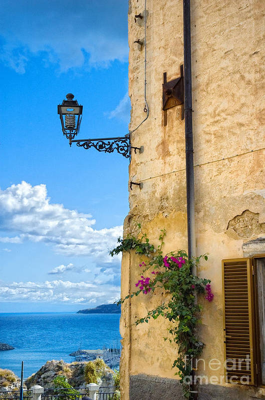 Architecture Art Print featuring the photograph House With Bougainvillea Street Lamp And Distant Sea by Silvia Ganora