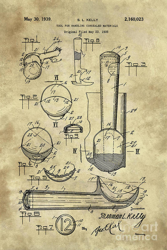 Kitchen Art Art Print featuring the painting Ice Cream Scoop Antique Blueprint Patent Drawing 1939 Kitchen  sc 1 st  Fine Art America & Ice Cream Scoop Antique Blueprint Patent Drawing 1939 Kitchen Art ...