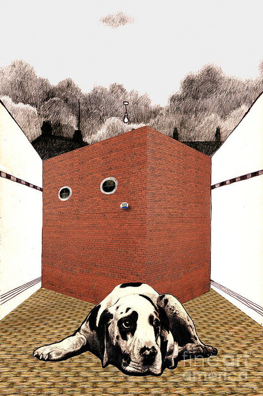 Brick Art Print featuring the digital art In The Dog House by Andy Mercer