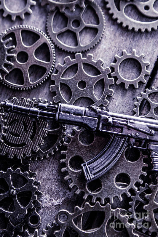 Tactical Art Print featuring the photograph Industrial Firearms by Jorgo Photography - Wall Art Gallery