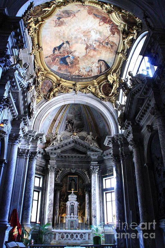 Venice Art Print featuring the photograph Inside The Church Santa Maria Della Salute In Venice by Michael Henderson