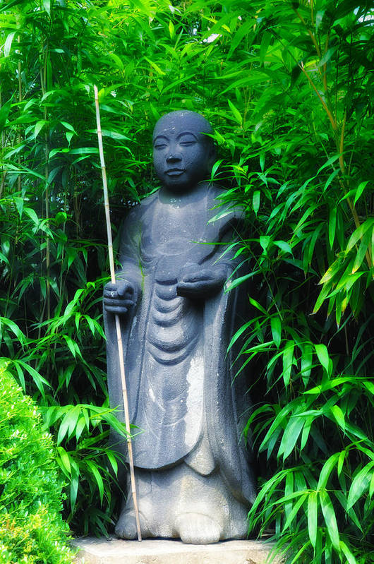 Japanese Art Print featuring the photograph Japanese House Monk Statue by Bill Cannon