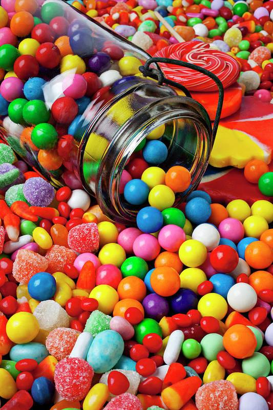 Jar Spilling Bubblegum Candy Concept Concept Conceptual Color Colour Colorful Art Print featuring the photograph Jar Spilling Bubblegum With Candy by Garry Gay