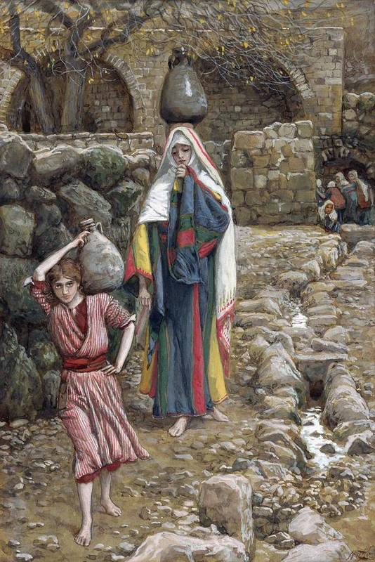 Art Print featuring the painting Jesus And His Mother At The Fountain by Tissot