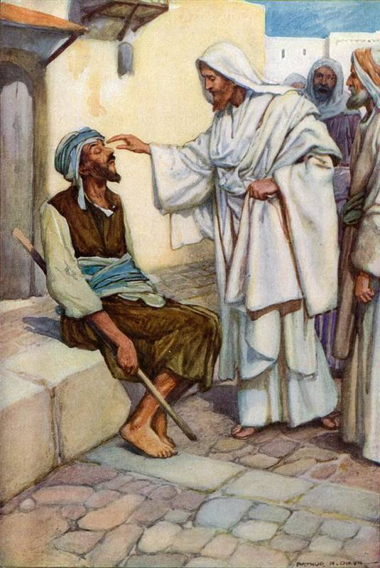 Bible; Biblical; Stories; Jesus; Blind Man Art Print featuring the painting Jesus And The Blind Man by Arthur A Dixon