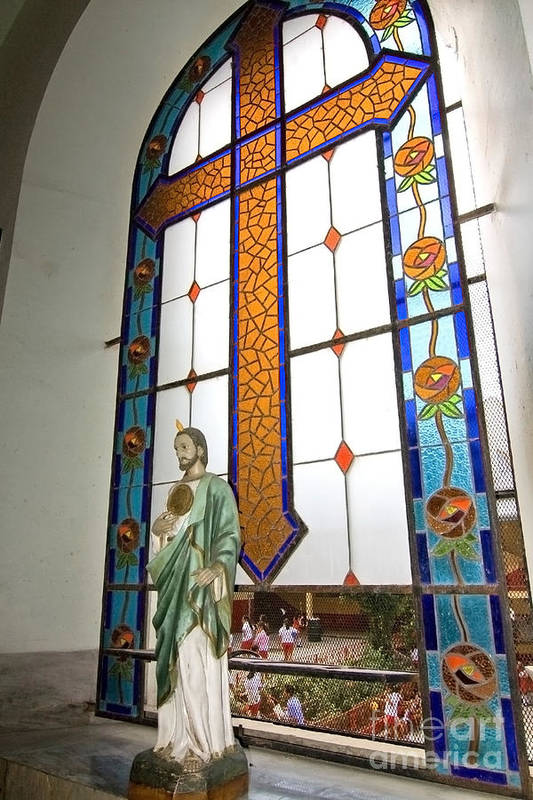 Jesus Art Print featuring the photograph Jesus In The Church Window And School Girls In The Background by Sven Brogren