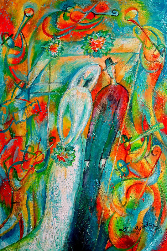 Bride Ceremony Color Groom Illustration Jewish Matrimony Medium Group Of People Pole Reception Religious Setup Tent Union Unrecognizable Wedding Whitemusicians Chuppa Decorative Painting Abstract Art Art Print featuring the painting Jewish Wedding by Leon Zernitsky