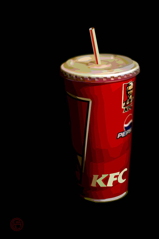 Popart Kfc Still Life Print featuring the painting Kfc Cup by Helena M Langley