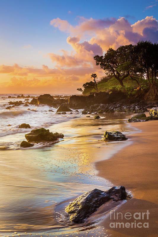 America Print featuring the photograph Koki Beach Sunrise by Inge Johnsson