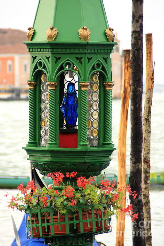 Venice Art Print featuring the photograph Lamp At Gondola Station In Venice by Michael Henderson