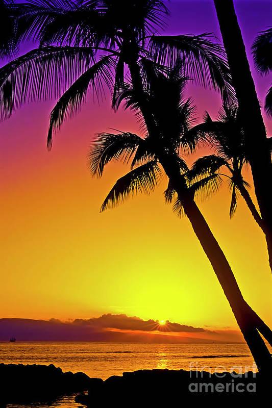 Sunset Art Print featuring the photograph Lanai Sunset II Maui Hawaii by Jim Cazel