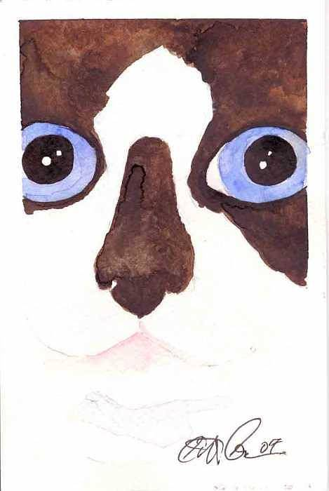 Cat Art Print featuring the painting Large Eyed Cat Oswoa by Christine Callahan