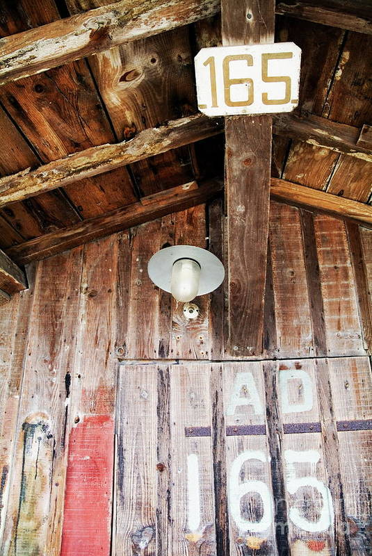 Aged Art Print featuring the photograph Light Hanging Inside An Old Wooden Hut by Sami Sarkis